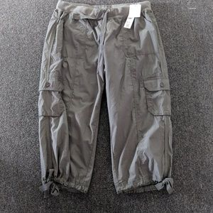 Calvin Klein Olive Cargo Cropped Pants 1X NWT